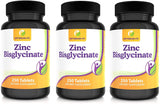 Zinc Bisglycinate Tablets High Strength 25mg Not Capsules 1 Per Day Supplement Over 8 Months Supply 250 Tabletsv