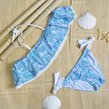 Strapless Lace Crop Top Bikini Set - Blue