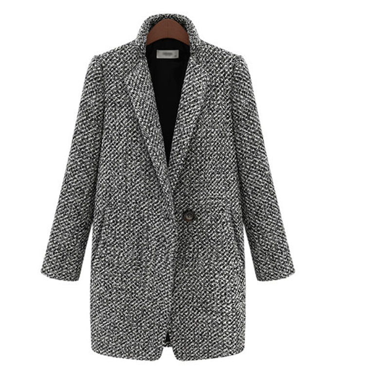 CHIC NYC 2019 Winter Coat Women Houndstooth Cotton Blend Coat Single Button