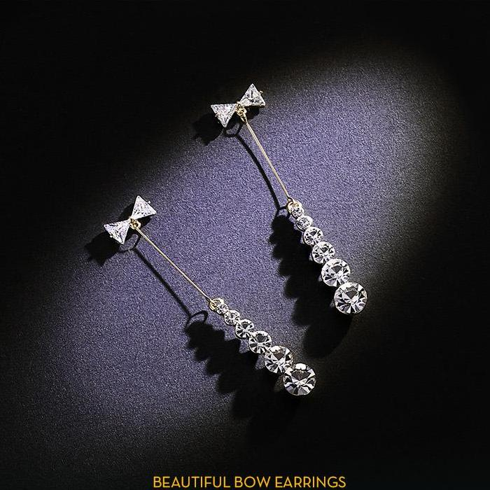 CHIC NYC Long Bow Earrings Female Temperament 2019