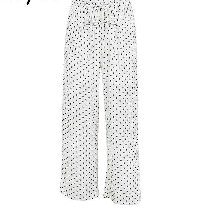 Polka Dot Casual Wide Leg Pant in White or Black - Trending