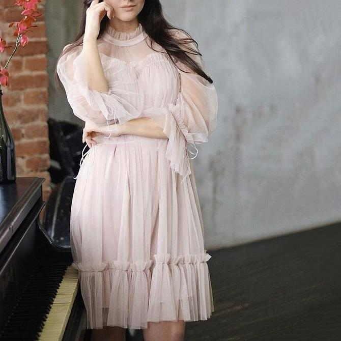 Chic Tulle Transparent Dress - Long Sleeve Lace Dress - Black, Nude, Blue