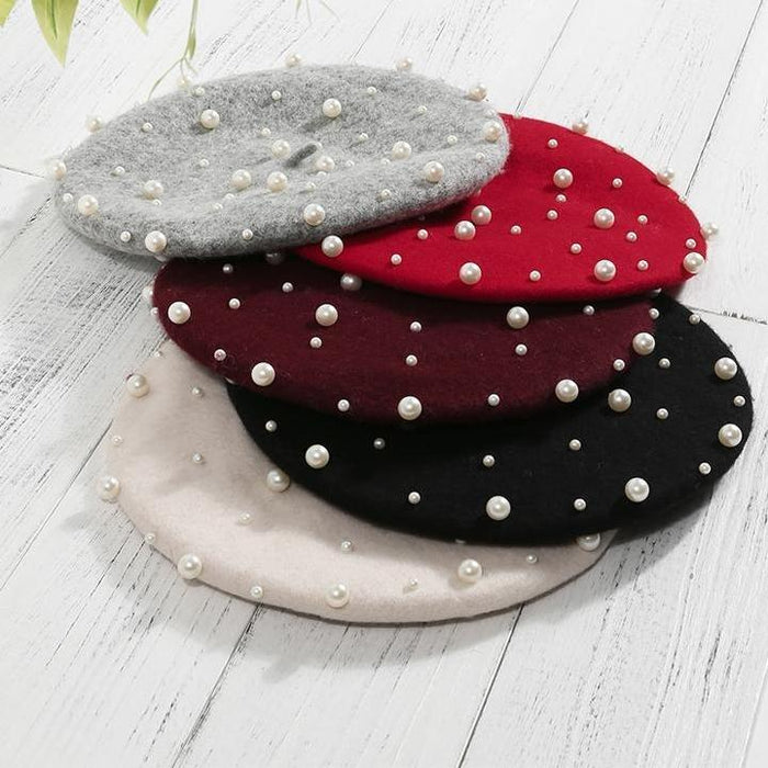 Wool and Pearl Beret - Black, White or Red