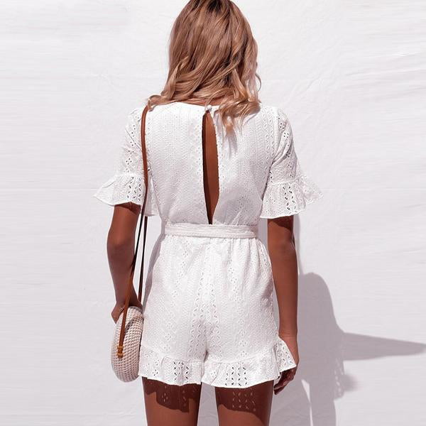 CHIC NYC Runway Deep V-neck Jumpsuit Romper
