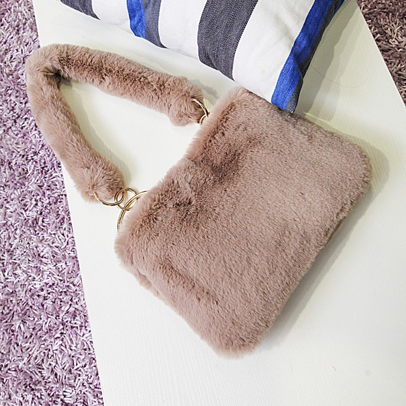 CHIC NYC Shoulder Bag Winter Faux Fur Tote Ladies Chain Messenger Bags