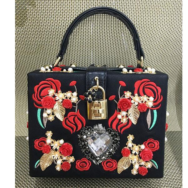 Hand Painted Beauty and the Beast Handbag - Black with Red and Gold Details