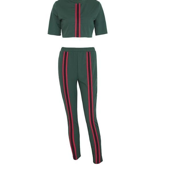 Elastic Waist for Comfort 2 Piece Track Suit - Green with Red Stripe Track Suit for Women - Red Stripe Crop Top