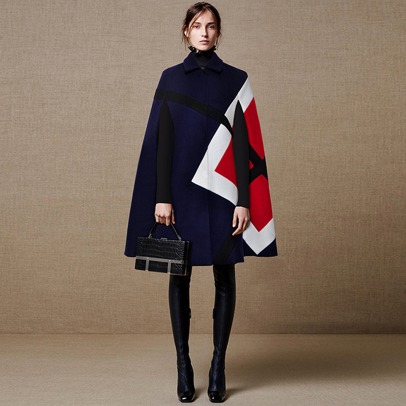 Chic Nyc Runway Coat Women's Batwing Sleeve Color Block Cape Cloak Wool Coat