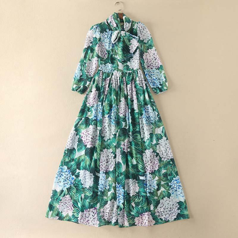 Lightweight Designer Runway Maxi Dress - Women's Bow Collar Floral Holiday Long Dress - Womans Floral Day Dress