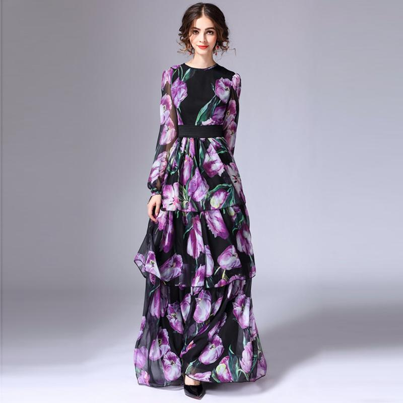 Designer Maxi Dress - Purple Floral and Black Maxi Dress - Floral Day Dress