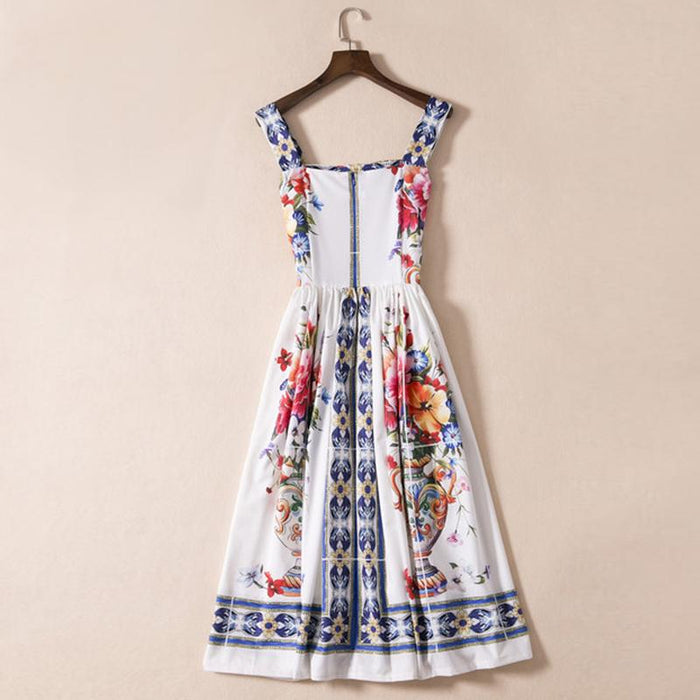 Run Way Inspired Floral Day Dress - White and Blue Floral Day Dress