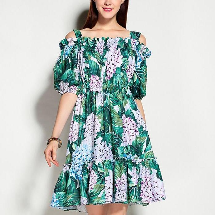 Off the Shoulder Floral Day Cotton Dress - Designer Runway Inspired Dress - Women's Spaghetti Strap Floral Printed Dress