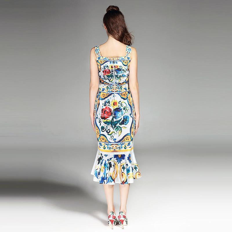 Fitted Run Way Inspired Floral Day Dress - Sleeveless Floral Day Dress  - Mosaic Day Dress