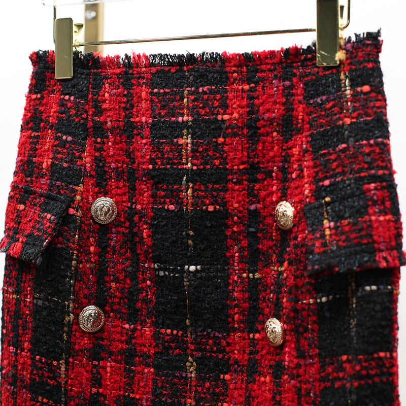 Chic Nyc Runway 2019 Fall&Winter Skirt Women's Lion Buttons Tweed Wool Mini Skirt