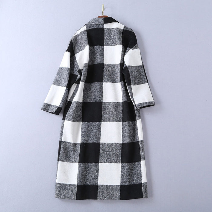Chic Nyc Runway 2019 Designer Wool Coat Women's Plaid Long Coat Overcoat