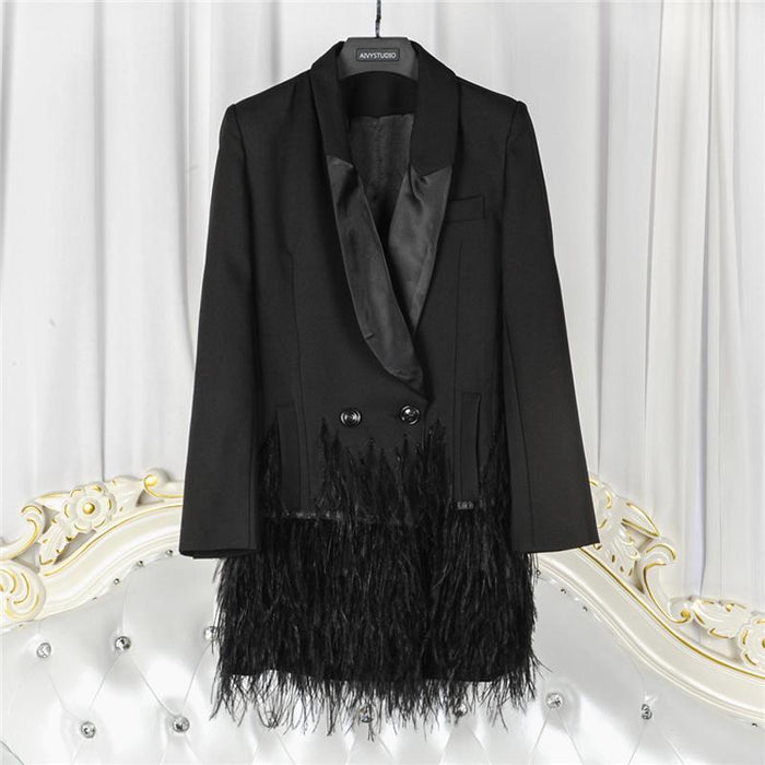 Fringed Long Black Blazer