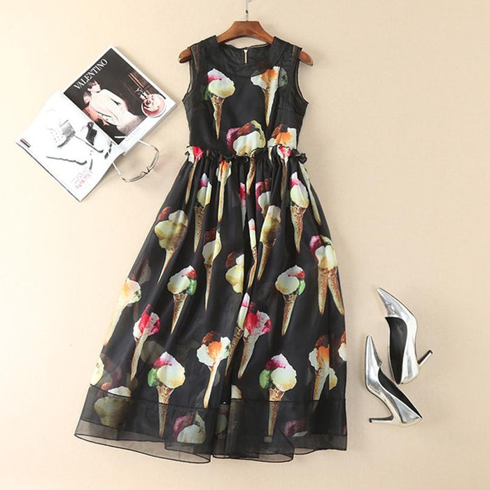 Fashion Designer Womans Day Dress - Women's Sleeveless Ice Cream Printed Gem Stone Back Buttons Mid-calf Womans Dress