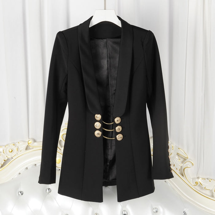 Chic Nyc Runway 2019 PARIS Blazer Women's Lion Buttons Chain Link Blazer