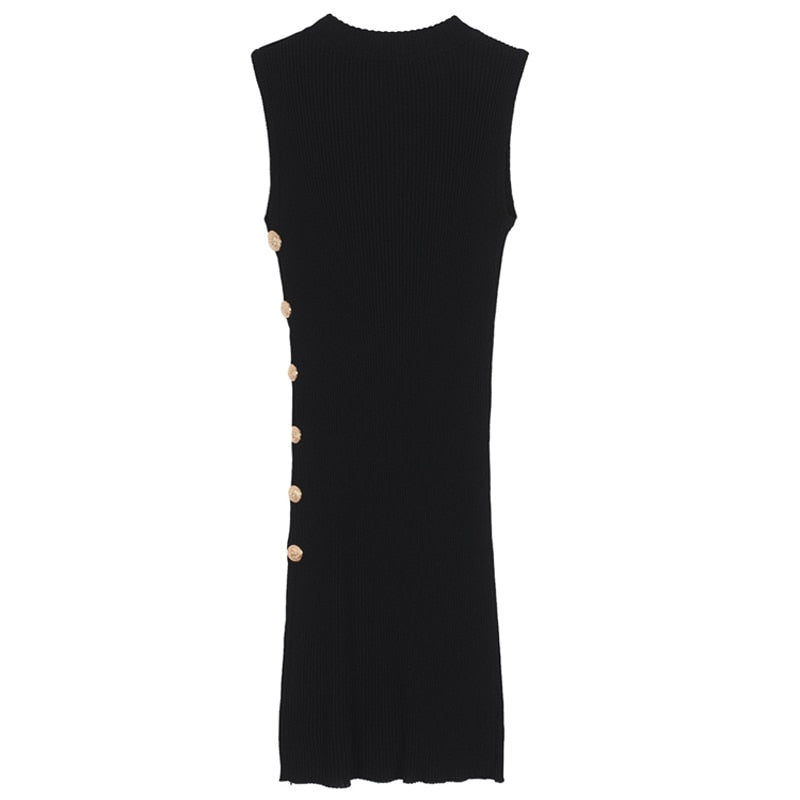 Chic Nyc Runway 2019 Women's Sleeveless Metal Lion Buttons Stretch Knitting Dress