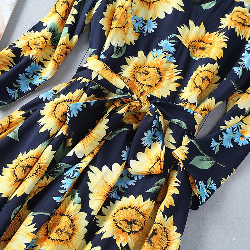 New 2018 Womans Apparel - Designer Runway Dress Women's Gorgeous Floral Sunflower Printed Mid-calf Dress - Sunflower Day Maxi Dress