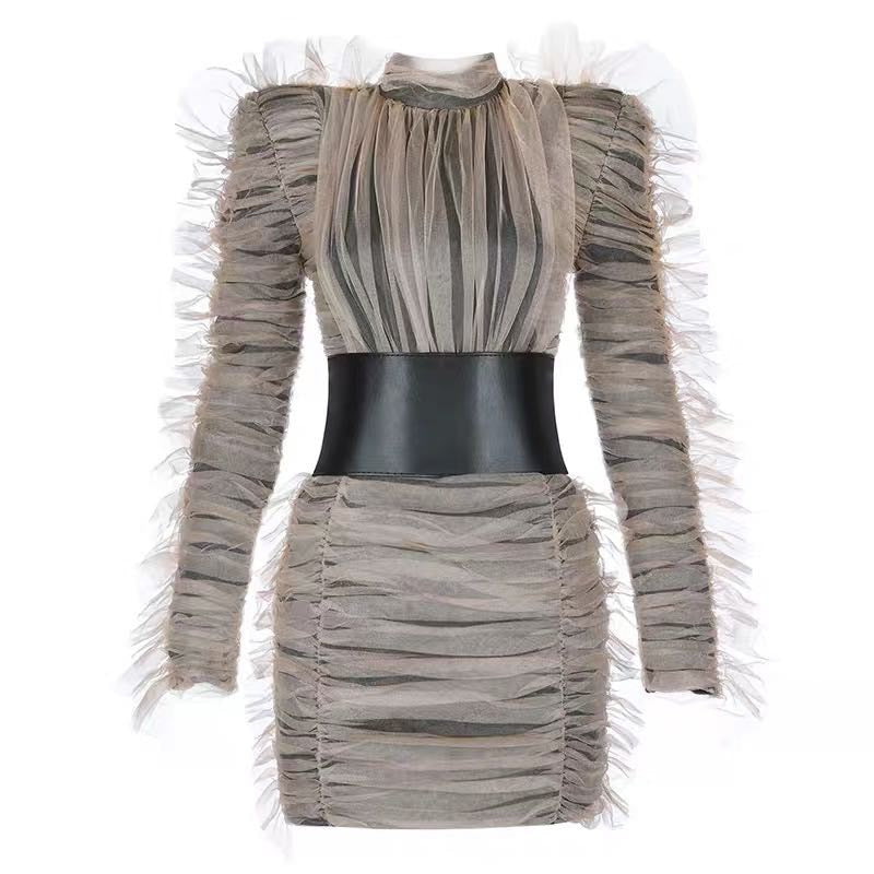 Chic NYC Runway 2019 Party Dress Women's Long Sleeve Fold Gauze Ruffle Dress