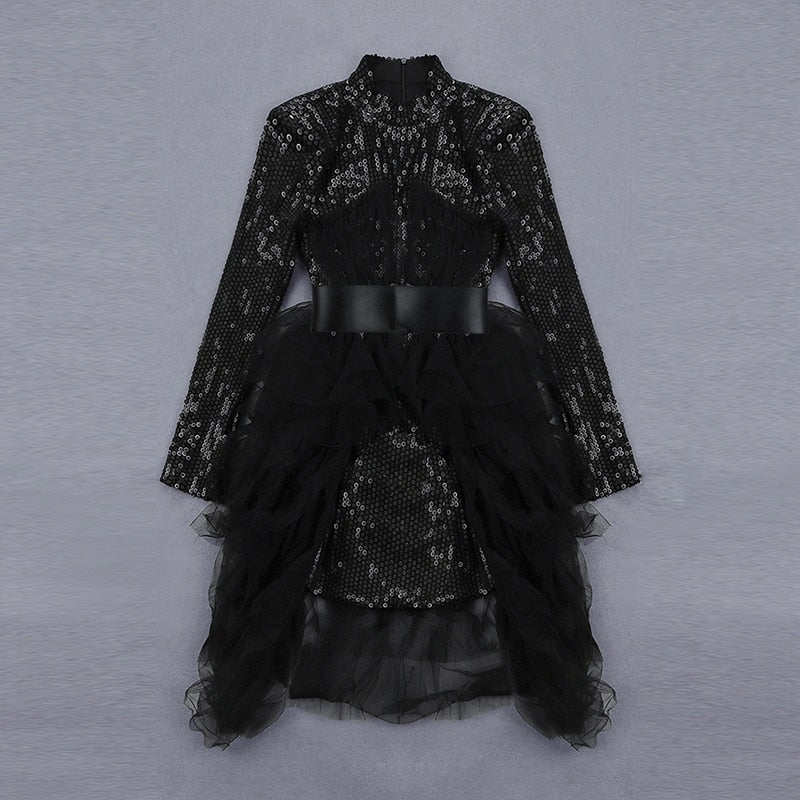 CHIC NYC Runway 2019 Designer Party Dress Women's Long Sleeve Gauze Patchwork Sequined Embroidery Dovetail Dress
