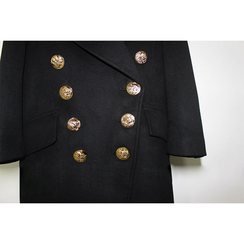 CHIC NYC 2019 Double Breasted Designer Wool Coat&Animal Pattern Buttons