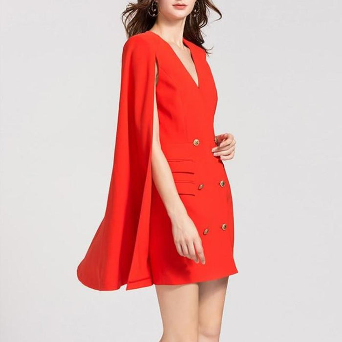 CHIC NYC Runway Designer 2019 V-neck Double Breasted Cape Dress