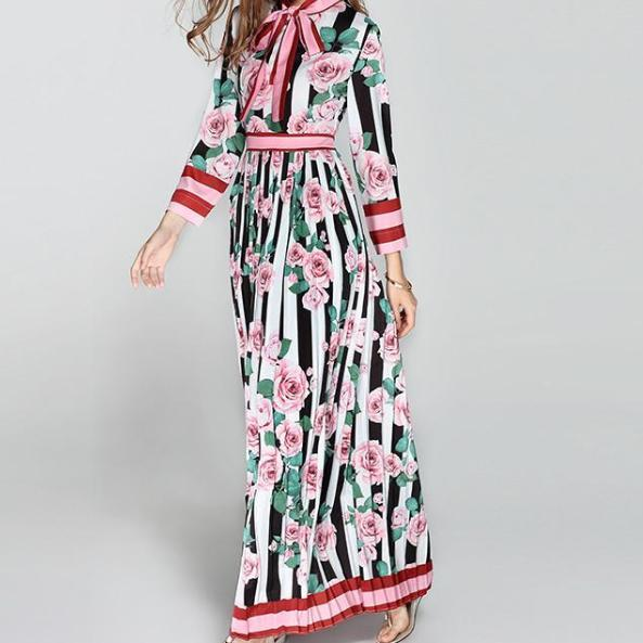 Designer Floral Runway Maxi Dress - Long Sleeve Women's Maxi Dress - Floral Maxi Dress