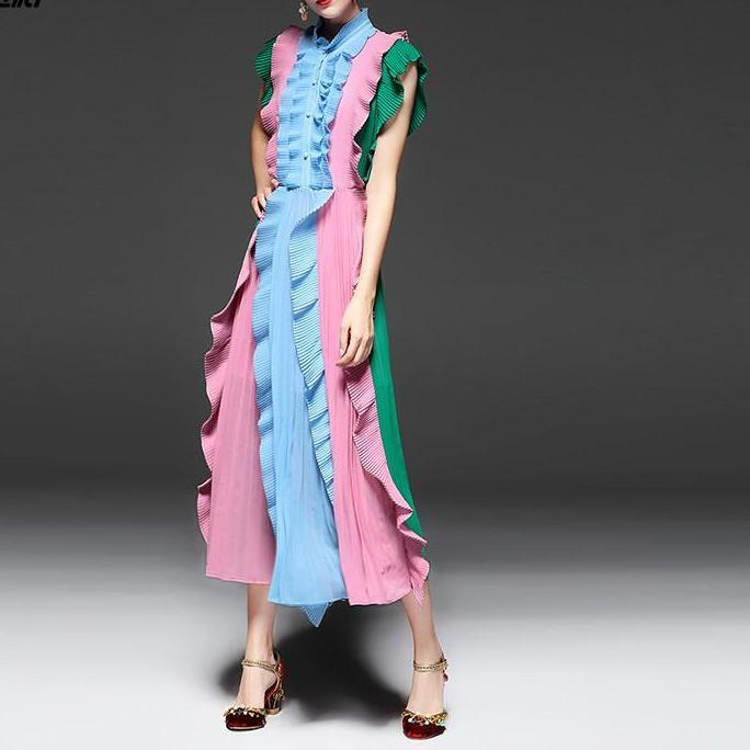 Draped Ruffled Dress - CHIC Block Colors Day Dress