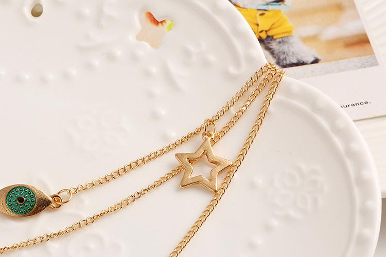 Evil Eye Gold Delicate Necklace - Star Necklace - Cross Necklace - Gold Delicate Chain Cross Necklace