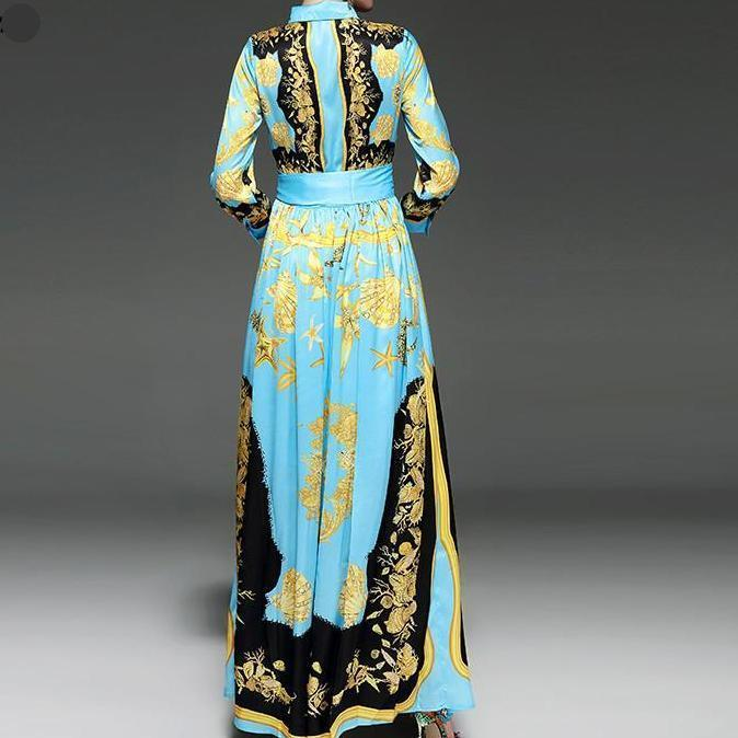Long Sleeve Aqua Blue Floor Length Maxi Dress - Flowing Maxi Dress - Plus Sizes Available