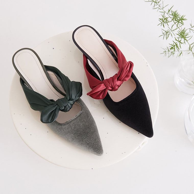 CHIC NYC Runway Genuine Leather Slipper Velvet Pointed Toe Stiletto Heels