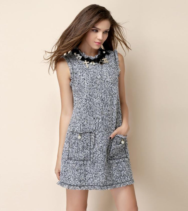 Best Seller No. 5 Tweed Dress - Gray/Blue or Pink