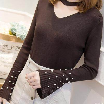CHIC NYC Bell Sleeve Blouse With Pearl