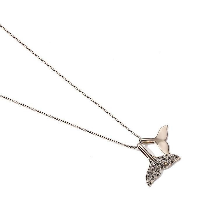 CHIC NYC Dolphin Fishtail Necklace Women's Sweater Chain Long Mermaid Pendant