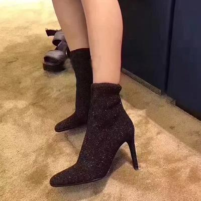 CHIC NYC Sequin Cloth Stiletto Heel Sock Boots
