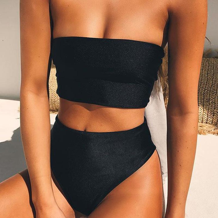 Minimalist Bikini Set - Orange, White, Black