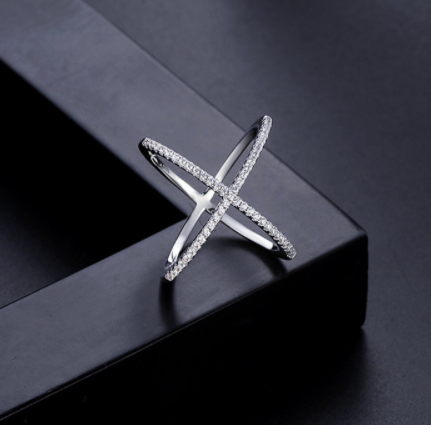 X Platinum Plated Ring with Crystal Details