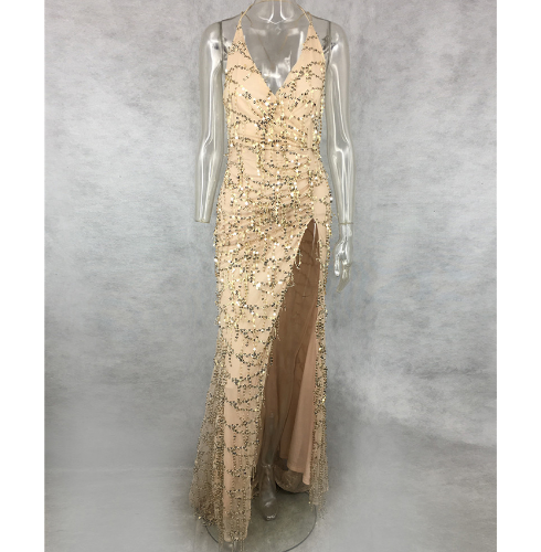 Nude Sparkle Glam Gown - High Slit - Small, Med, Large, XL