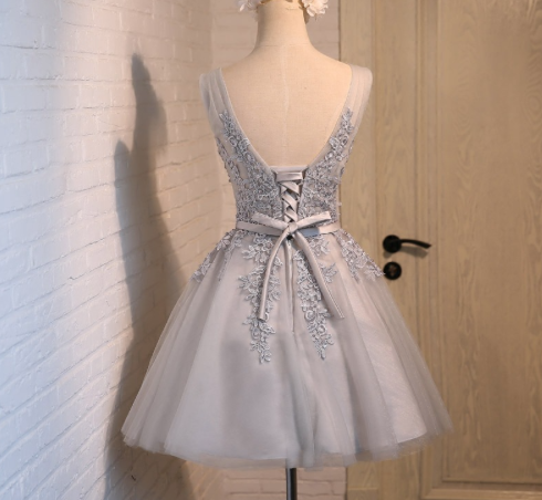 Grey / Blue Tulle Above the Knee Gown - Tie up in Back