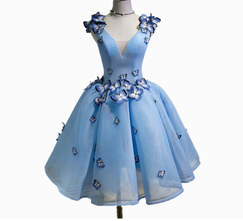 Blue Butterfly Gown - Above the Knee - Sizes 4 through 16