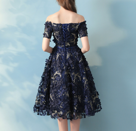 Navy Blue Hand Threaded Floral Details - Above the Knee Gown - Sizes 4 through 14