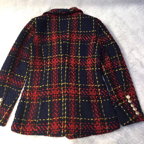 Wool Blazer Jacket - Tweed - Red and Navy