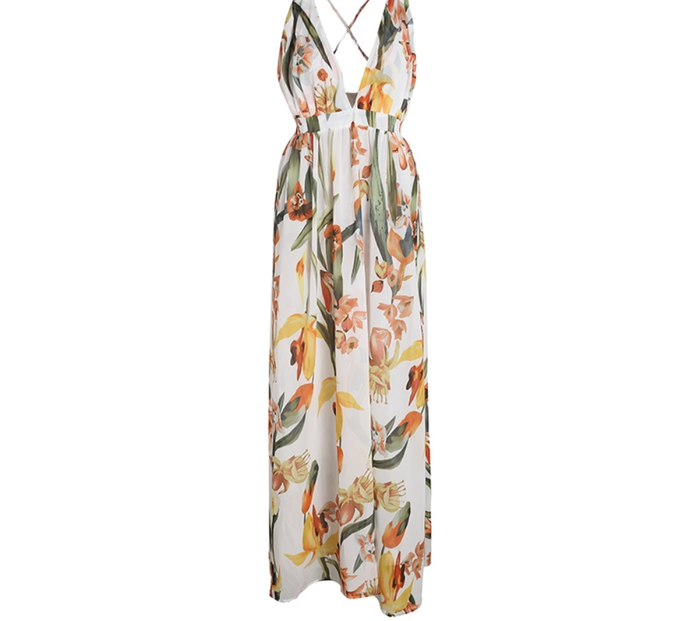 Every Day Floral Maxi Dress - Cream/Nude