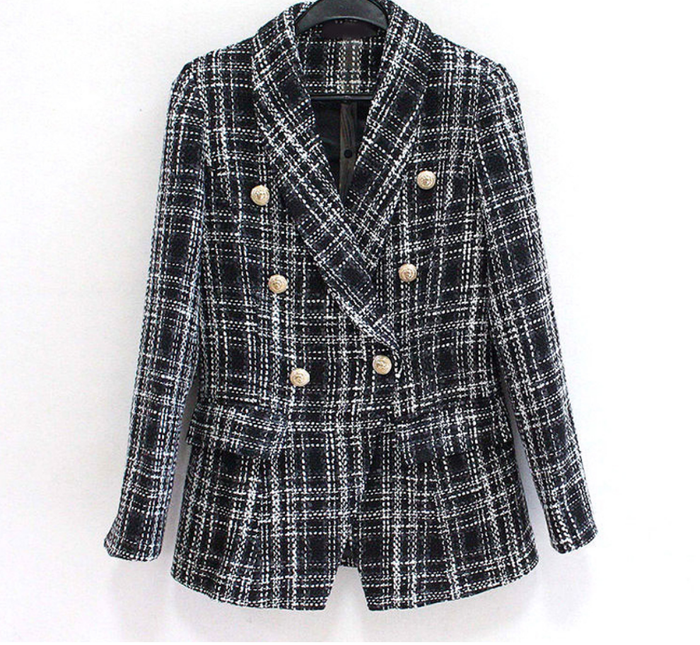 Tweed Black and White Plaid Blazer - New Arrival