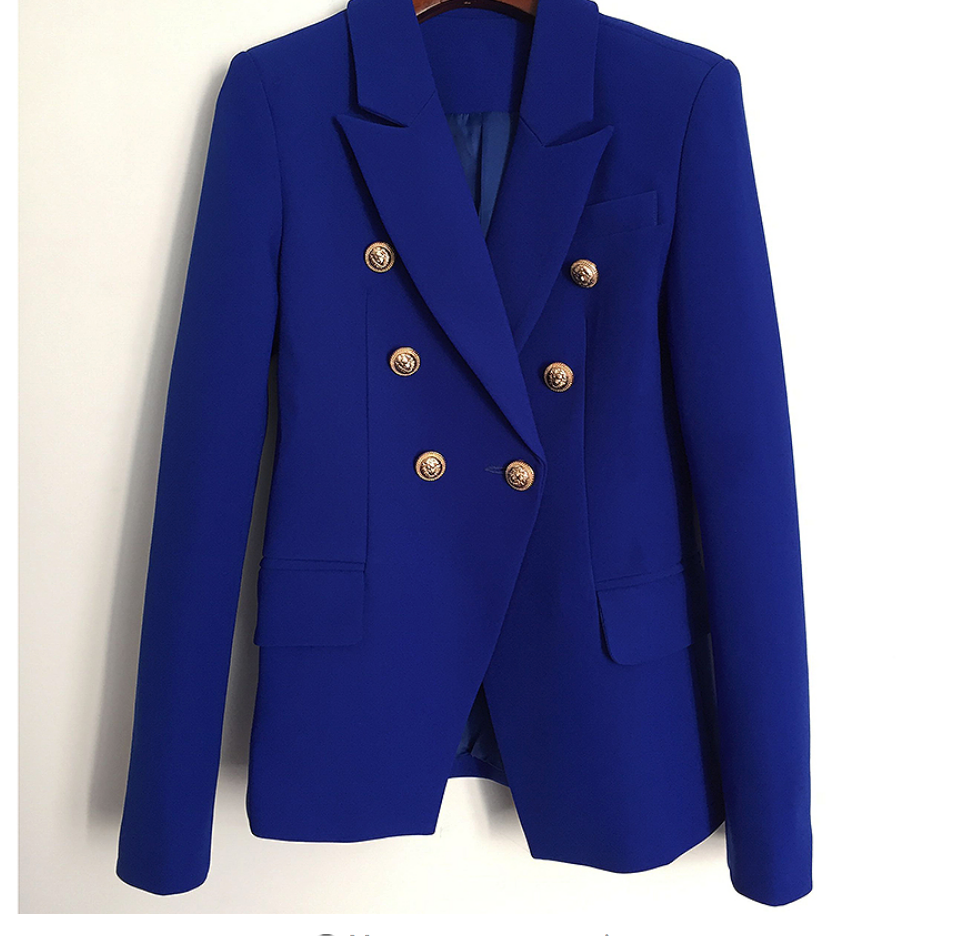 Royal Blue Famous Blazer with Gold Button Details