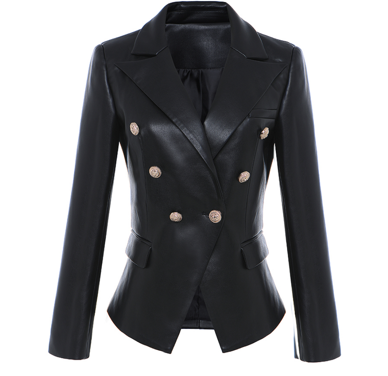 Soft PU Leather Famous Blazer with Gold Button Details