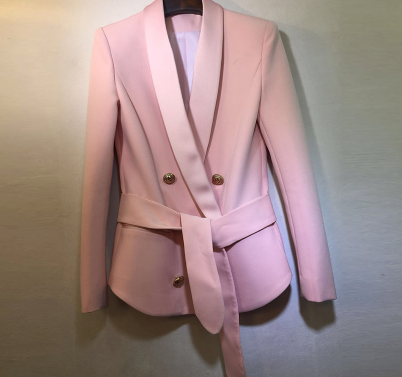 Wrap Around Famous Blazer with Gold Button and Satin Details - Pink