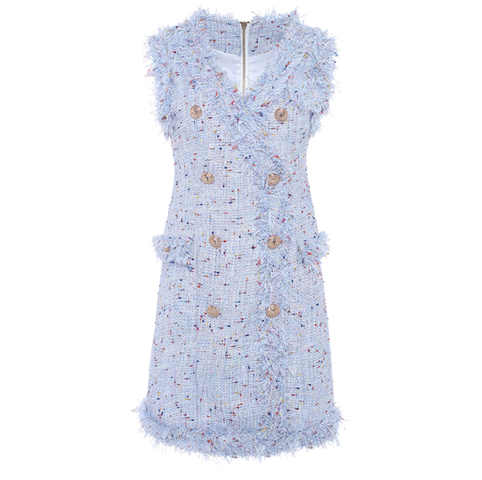 Famous Tweed Sleeveless Dress - Blue with Gold Buttons